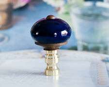 1 of Hand-Painted Dark Blue Porcelain Ball Lamp Shade Finial