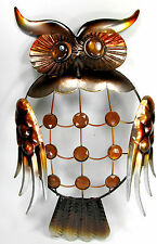 Owl Metal with Jewels Wall Hanging Art Taupe and Amber wildlife Home Decor