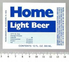 American Beer Label - Pocono Brewery - USA - Home Light Beer
