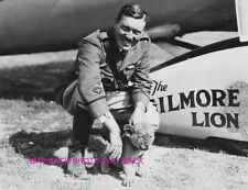 REPRINT PHOTO OF AVIATOR ROSCOE TURNER WITH GILMORE THE LION, 8 by 10