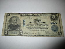 $5 1902 Des Moines Iowa Ia National Currency Bank Note Bill! #2886 Rare Fine