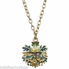 Kirks Folly Enchanted Forest Mini Green Man Necklace Goldtone Green & Violet