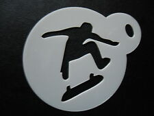 Laser cut small skate board man design cookie, craft & face painting stencil