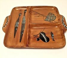 Mid Century Ceramic Divided Platter Hand Painted Wood Look Tribal Fish Baskets