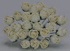 24  WHITE HIP ROSE BUDS Mulbery Paper Flowers wedding miniature cards