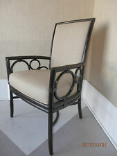 McGUIRE FURNITURE M-283 Laura Kirar Black Bamboo Upholstered Arm Chair