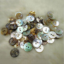 100 X Natural Mother of Pearl Round Shell 2 Holes Sewing Buttons 10mm 5huk