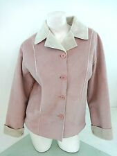 CALISPIA WOMENS PINK FAUX SUEDE LEATHER JACKET SIZE L FLEECE LINED