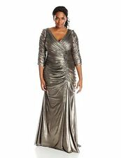 New Adrianna Papell Plus-Size Three-Quarter Sleeve Ruched Gown Pewter.SZ:24W