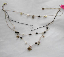 NEW Betsey Johnson Necklace Paris Dress on Hanger High Heel 4 Tier Charms