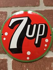 """7up PORCELAIN 6"""" Button Palm Press/push Door SIGN. Convex. Great For Collectors"""