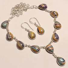 RAINBOW CALSILICA WITH EARRING .925 SILVER NECKLACE 16-18""