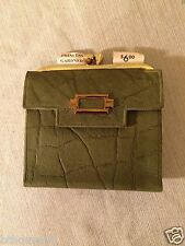 Vintage New NOS Princess Gardner Womens Green Leather Clutch Wallet Made in USA