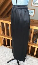 EMANUEL UNGARO Parallele Paris Long Black Silk Skirt Satin Women's Size 8