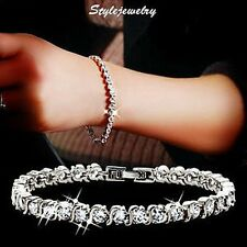 18k White Gold Filled Made with Swarovski Crystal Tennis Wedding Bracelet T1