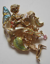 Kirks Folly Moonflower Fairy  Pin Cherub Glass Lustery Wings Charms Dragonfly