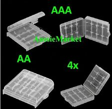 4 x AA AAA battery clear white storage case holder rechargeable batteries travel