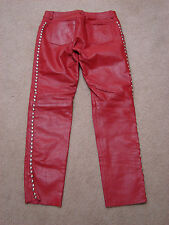 Kookie 80's Red Leather Heavy Silver Studded 5 Pocket Lined Pants L (31/31)