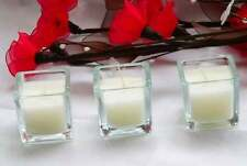 24 Glass 5cm Square Designer Wedding Table Centrepiece Decoration White Candle