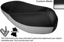 WHITE & BLACK CUSTOM FITS MALAGUTI CIAK 50 DUAL LEATHER SEAT COVER ONLY