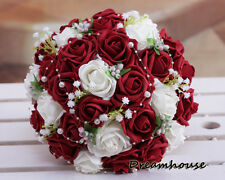 Wedding Bridal Bride Bouquet Ivory&Wine Red Roses Flowers W/Pearls Lace Decor