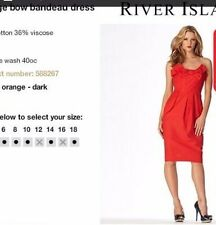 NEW River Island Bandeaux Red Dress Bow Evening UK 10 Tulip Strapless Midi Dress