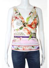 ROBERTO CAVALLI Multicolored Sleeveless V Neck Multi Print Silk Blouse Sz IT 42