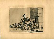 GOYA «Al cementerio» Grabado (engraving) original nº56 Desastres (War Disasters)