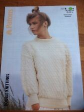 Patons Ladies Sweater Knitting Pattern No 8129 Sizes 30-40 Ins Chest