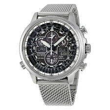 Citizen Navihawk UTC Chrono Black Dial Stainless Steel Mesh Mens Watch