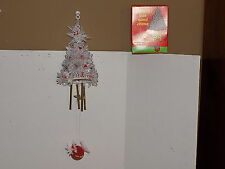 Vintage White Plastic Christmas Tree Windchime Made in Hong Kong