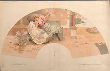 """BAC FERDINAND """"QUELQUES TRANCHES DE VIE"""" PROJET D'EVENTAIL  1895"""