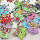 New 10/50/100/500pc Owl With Glass Button DIY Scrapbooking Appliques Craft W307