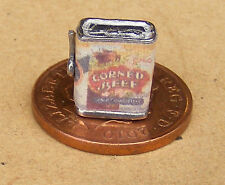 1:12th Empty Corned Beef Tin & Key Dolls House Miniature Kitchen Food Accessory