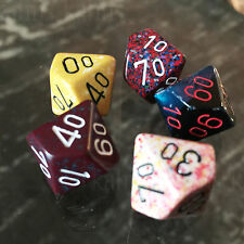 Chessex : d% Percentile d10 - Random Set of 5  - Free Bag! Ten Sided