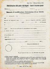 POSTE E TELEGRAFI MODULARIO 1920 DOMANDA MODIFICA INTESTATARIO LIBRETTO 18-34
