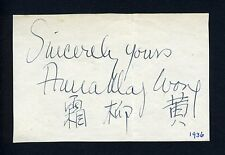 Anna MAY WONG (Actress): Autograph Signature in Chinese and English