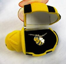 Gold Plated Yellow & Black Bumble Bee Charm Necklace With Gift Box FREE SHIPPING
