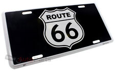 NEW! ROUTE 66 BLACK ALUMINUM STAMPED METAL LICENSE PLATE AUTO/CAR/TRUCK SIGN TAG