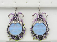 KIRKS FOLLY MALEFICENT SEAVIEW MOON 20mm LEVERBACK EARRINGS  ST/BLUE CRYSTAL