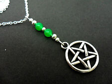 A TIBETAN SILVER WHITE JADE PENTAGRAM PENTANGLE THEMED  NECKLACE. NEW.