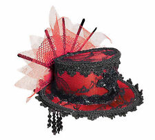 Red Mini Victorian Top Hat with Hair Clips Steampunk Burlesque