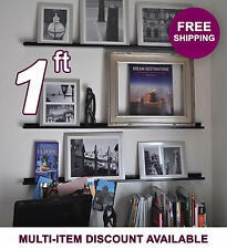 12in ultraLEDGE Black Metal Floating Shelf, Picture Ledge, Photo & Art Display