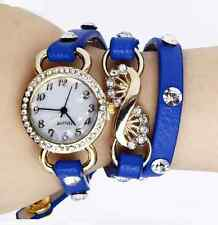 Rhinestone Leather Quartz Bracelet Watch - Dark Blue & Gold