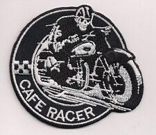 Cafe Racer skull rider patch. 3 inch Rocker Ace Ton Up Triumph BSA Norton.Honda