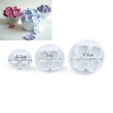 3x Hydrangea Flower Floral Fondant Cake Sugar Craft Pastry Plunger Cutter Mould