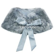 Girls Kids Faux Fur Jacket Wrap Shrug Bolero Coat Wrap Shawl Cape Wedding Party