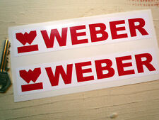 WEBER Red & White logo & Text pair of stickers 7 inch 175mm