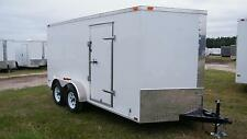 7x14 Enclosed Cargo Trailer V-Nose Tandem Axle Motorcycle Utility16 Lawn 2016