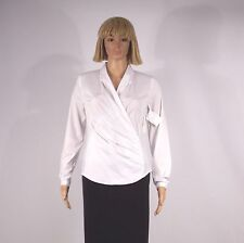 LAUNDRY BY SHELLI SEGAL Size 2 Optic White Long Sleeve Side Zip Collar Blouse
